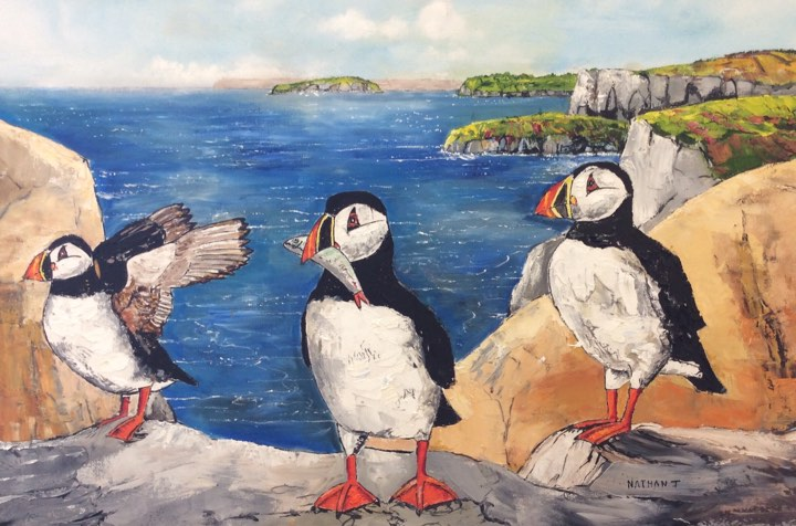 Return of The Puffins - 76.2 x 50.8 x 0.25 cm (unframed)